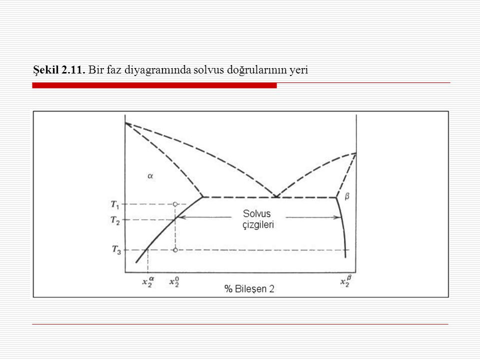 Şekil 2.11. Bir faz diyagramında solvus doğrularının yeri