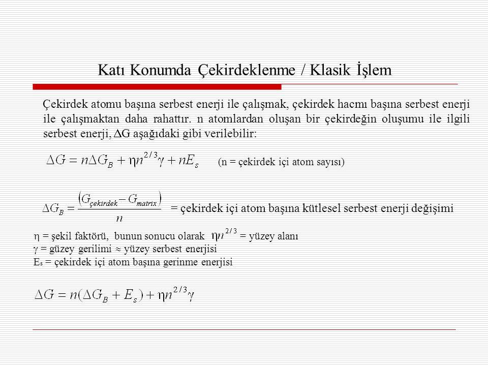 Katı Konumda Çekirdeklenme / Klasik İşlem Çekirdek atomu başına serbest enerji ile çalışmak, çekirdek hacmı başına serbest enerji ile çalışmaktan daha rahattır.