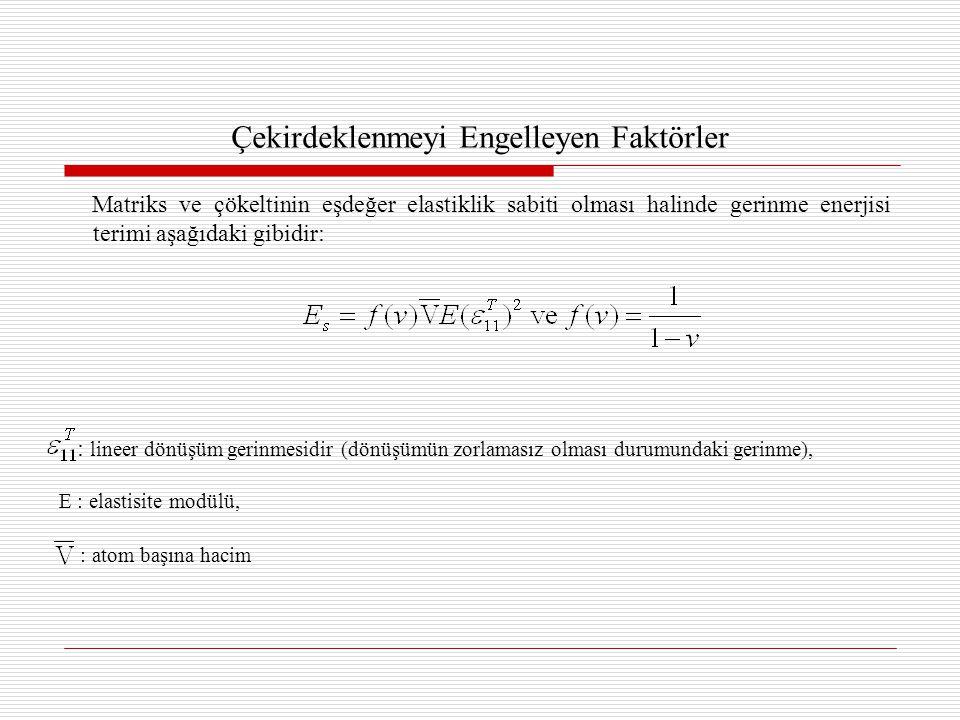Çekirdeklenmeyi Engelleyen Faktörler Matriks ve çökeltinin eşdeğer elastiklik sabiti olması halinde gerinme enerjisi terimi aşağıdaki gibidir: : lineer dönüşüm gerinmesidir (dönüşümün zorlamasız olması durumundaki gerinme), E : elastisite modülü, : atom başına hacim