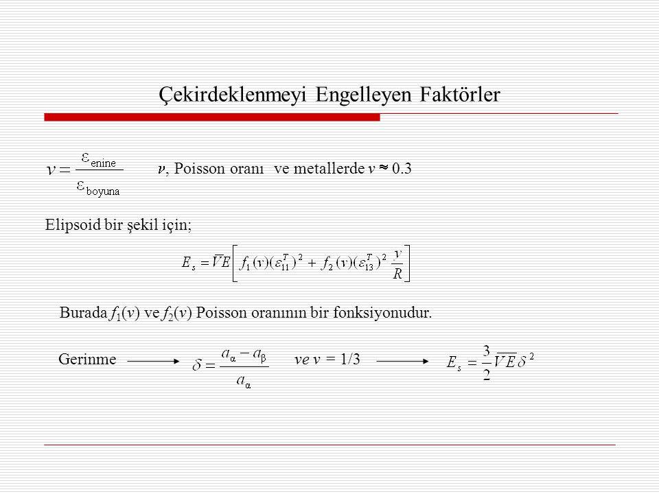 Çekirdeklenmeyi Engelleyen Faktörler, Poisson oranıve metallerde v  0.3 Elipsoid bir şekil için; Burada f 1 (v) ve f 2 (v) Poisson oranının bir fonksiyonudur.