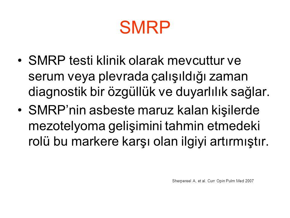 SMRP SMRP testi klinik olarak mevcuttur ve serum veya plevrada çalışıldığı zaman diagnostik bir özgüllük ve duyarlılık sağlar. SMRP'nin asbeste maruz