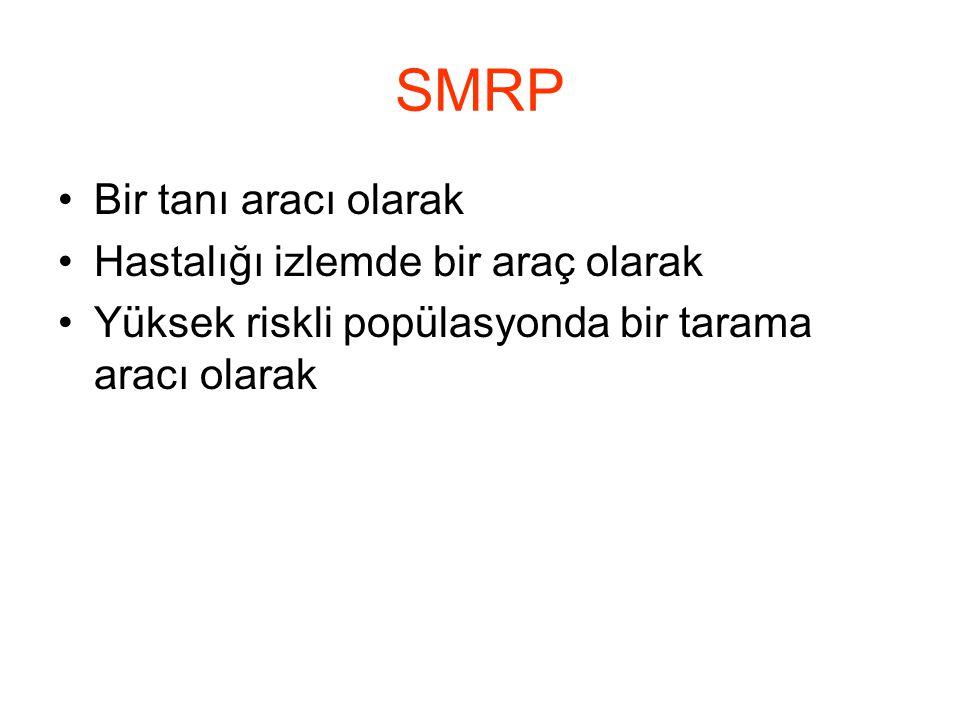SMRP Bir tanı aracı olarak Hastalığı izlemde bir araç olarak Yüksek riskli popülasyonda bir tarama aracı olarak