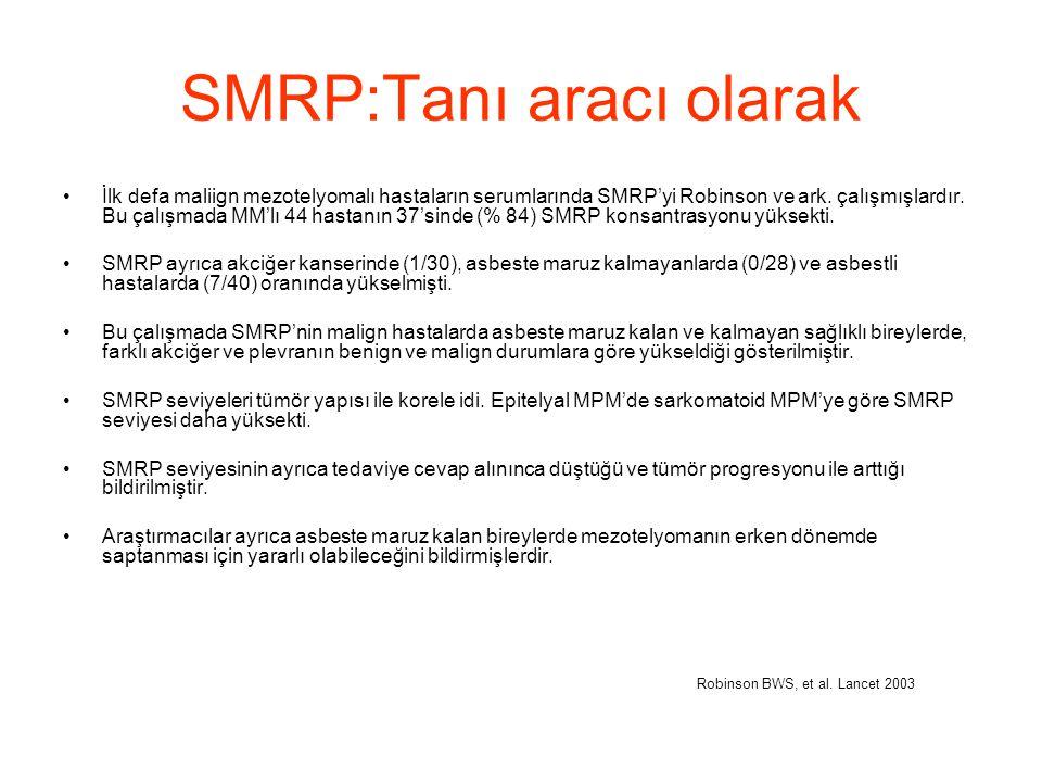 SMRP:Tanı aracı olarak İlk defa maliign mezotelyomalı hastaların serumlarında SMRP'yi Robinson ve ark. çalışmışlardır. Bu çalışmada MM'lı 44 hastanın