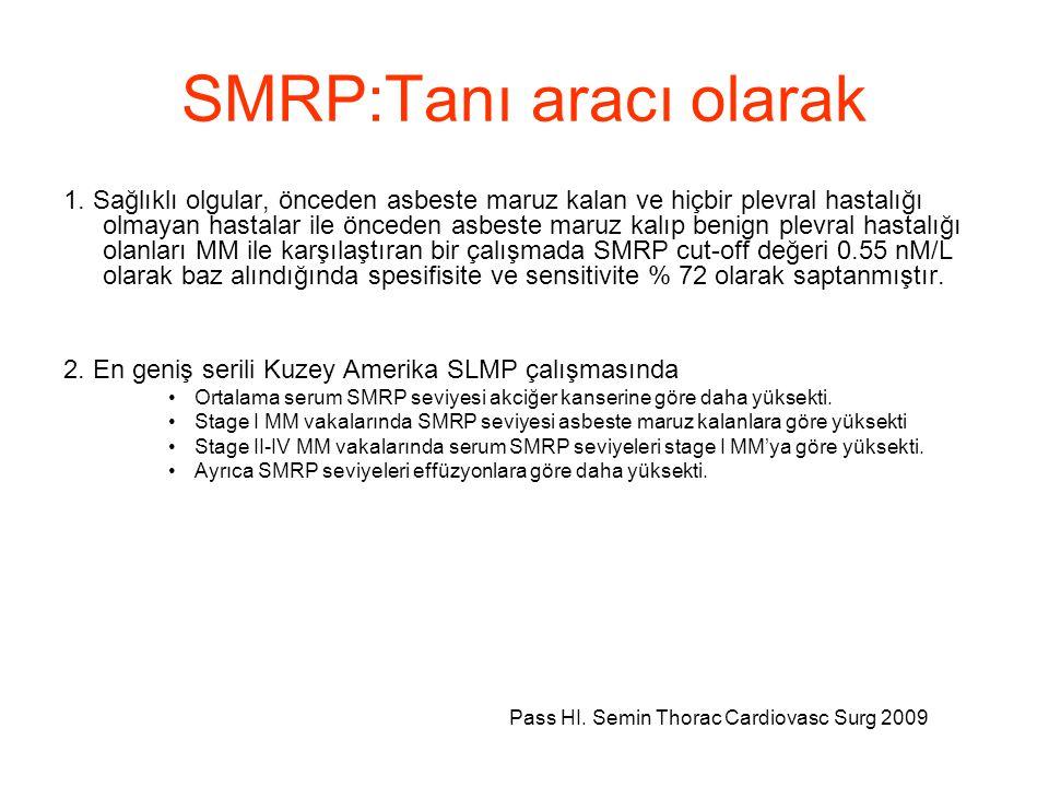 SMRP:Tanı aracı olarak 1. Sağlıklı olgular, önceden asbeste maruz kalan ve hiçbir plevral hastalığı olmayan hastalar ile önceden asbeste maruz kalıp b