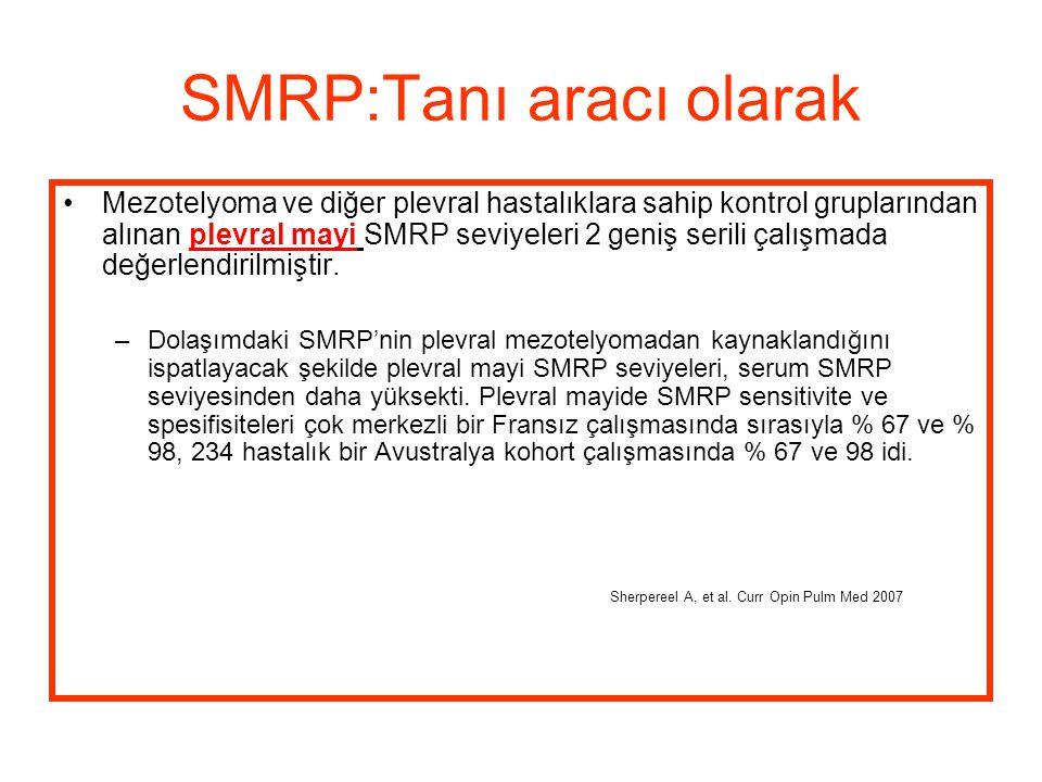 SMRP:Tanı aracı olarak Mezotelyoma ve diğer plevral hastalıklara sahip kontrol gruplarından alınan plevral mayi SMRP seviyeleri 2 geniş serili çalışma