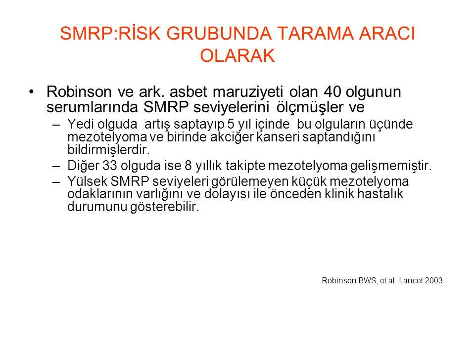 SMRP:RİSK GRUBUNDA TARAMA ARACI OLARAK Robinson ve ark. asbet maruziyeti olan 40 olgunun serumlarında SMRP seviyelerini ölçmüşler ve –Yedi olguda artı