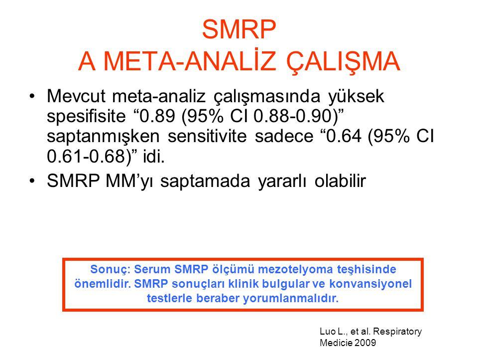 """SMRP A META-ANALİZ ÇALIŞMA Mevcut meta-analiz çalışmasında yüksek spesifisite """"0.89 (95% CI 0.88-0.90)"""" saptanmışken sensitivite sadece """"0.64 (95% CI"""