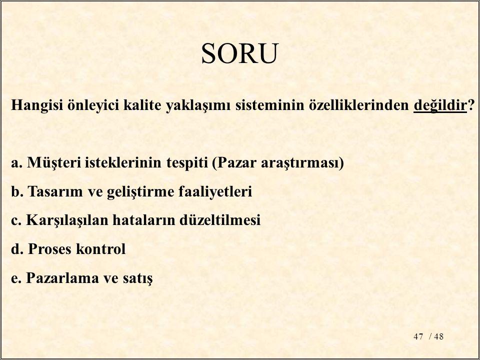 / 4847 SORU Hangisi önleyici kalite yaklaşımı sisteminin özelliklerinden değildir.