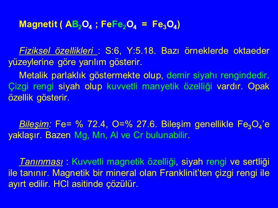 Magnetit ( AB 2 O 4 ; FeFe 2 O 4 = Fe 3 O 4 ) Fiziksel özellikleri : S:6, Y:5.18. Bazı örneklerde oktaeder yüzeylerine göre yarılım gösterir. Metalik