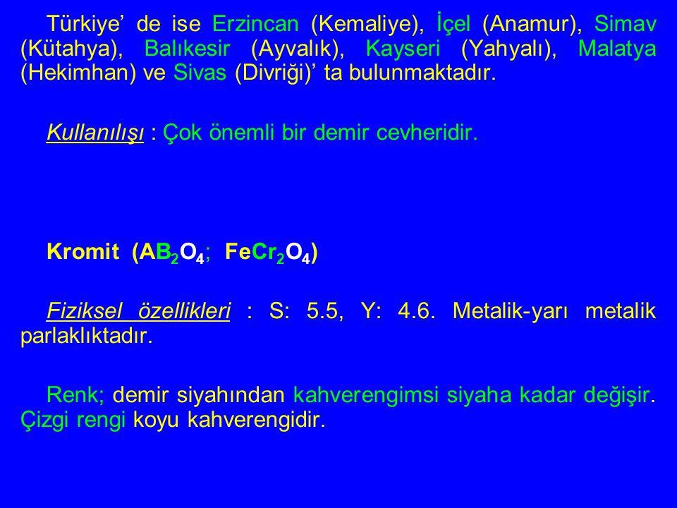 Türkiye' de ise Erzincan (Kemaliye), İçel (Anamur), Simav (Kütahya), Balıkesir (Ayvalık), Kayseri (Yahyalı), Malatya (Hekimhan) ve Sivas (Divriği)' ta