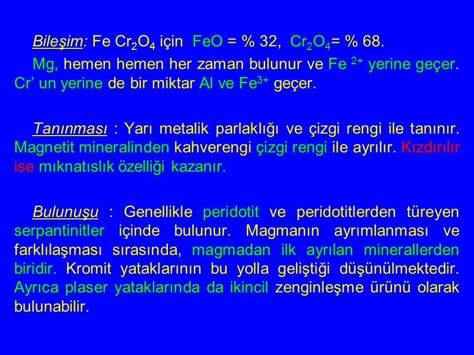 Bileşim: Fe Cr 2 O 4 için FeO = % 32, Cr 2 O 4 = % 68. Mg, hemen hemen her zaman bulunur ve Fe 2+ yerine geçer. Cr' un yerine de bir miktar Al ve Fe 3