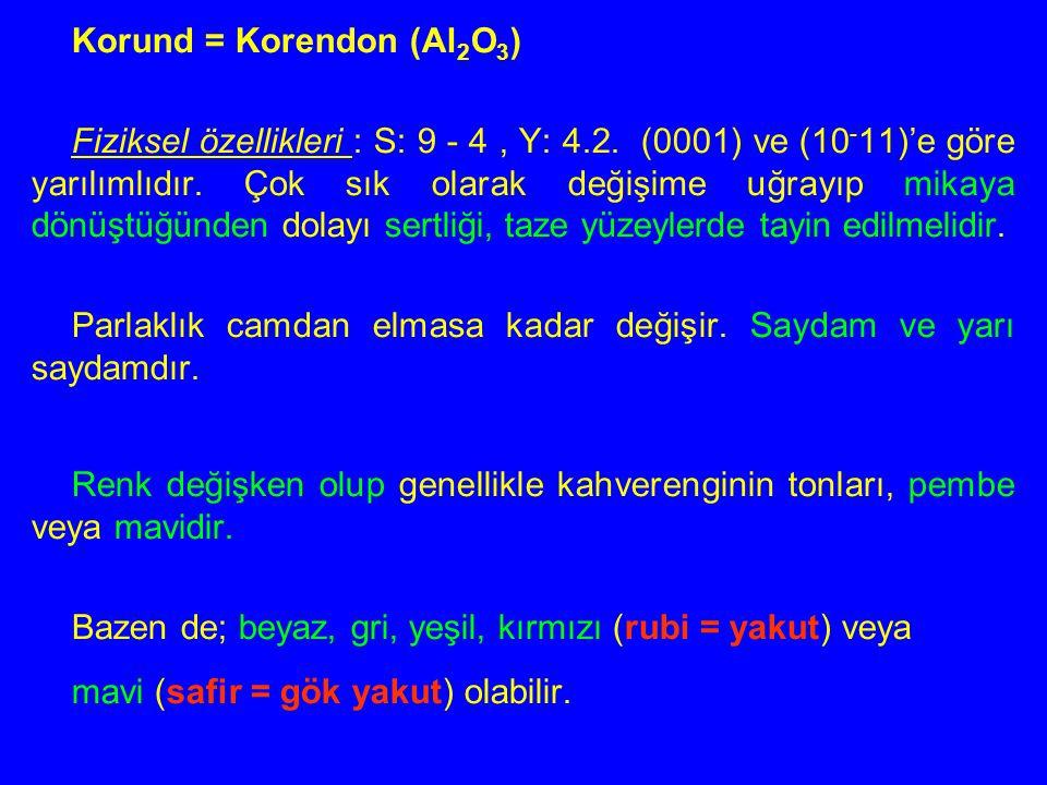 Korund = Korendon (Al 2 O 3 ) Fiziksel özellikleri : S: 9 - 4, Y: 4.2. (0001) ve (10 - 11)'e göre yarılımlıdır. Çok sık olarak değişime uğrayıp mikaya