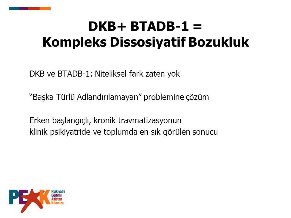 """DKB+ BTADB-1 = Kompleks Dissosiyatif Bozukluk DKB ve BTADB-1: Niteliksel fark zaten yok """"Başka Türlü Adlandırılamayan"""" problemine çözüm Erken başlangı"""