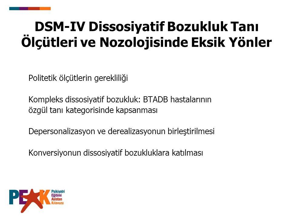 DSM-IV Dissosiyatif Bozukluk Tanı Ölçütleri ve Nozolojisinde Eksik Yönler Politetik ölçütlerin gerekliliği Kompleks dissosiyatif bozukluk: BTADB hasta