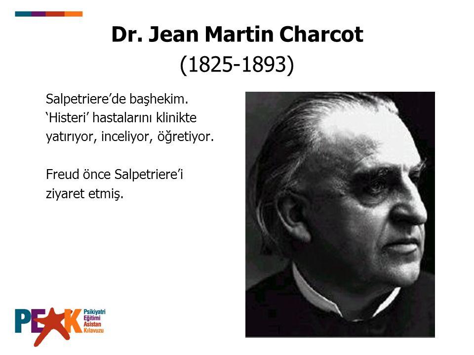 Dr. Jean Martin Charcot (1825-1893) Salpetriere'de başhekim. 'Histeri' hastalarını klinikte yatırıyor, inceliyor, öğretiyor. Freud önce Salpetriere'i
