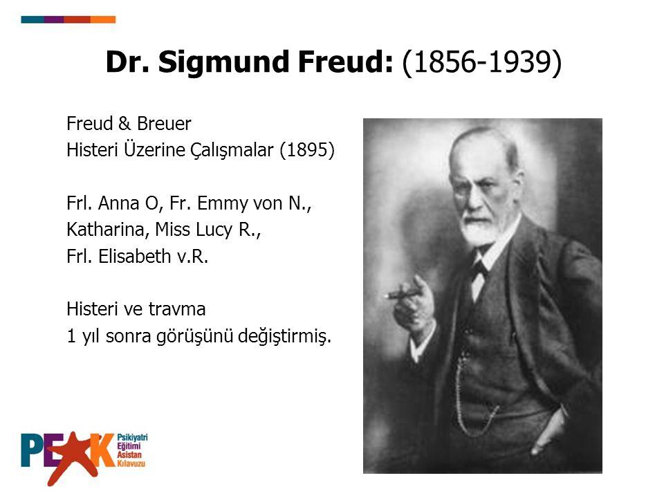 Dr. Sigmund Freud: (1856-1939) Freud & Breuer Histeri Üzerine Çalışmalar (1895) Frl. Anna O, Fr. Emmy von N., Katharina, Miss Lucy R., Frl. Elisabeth