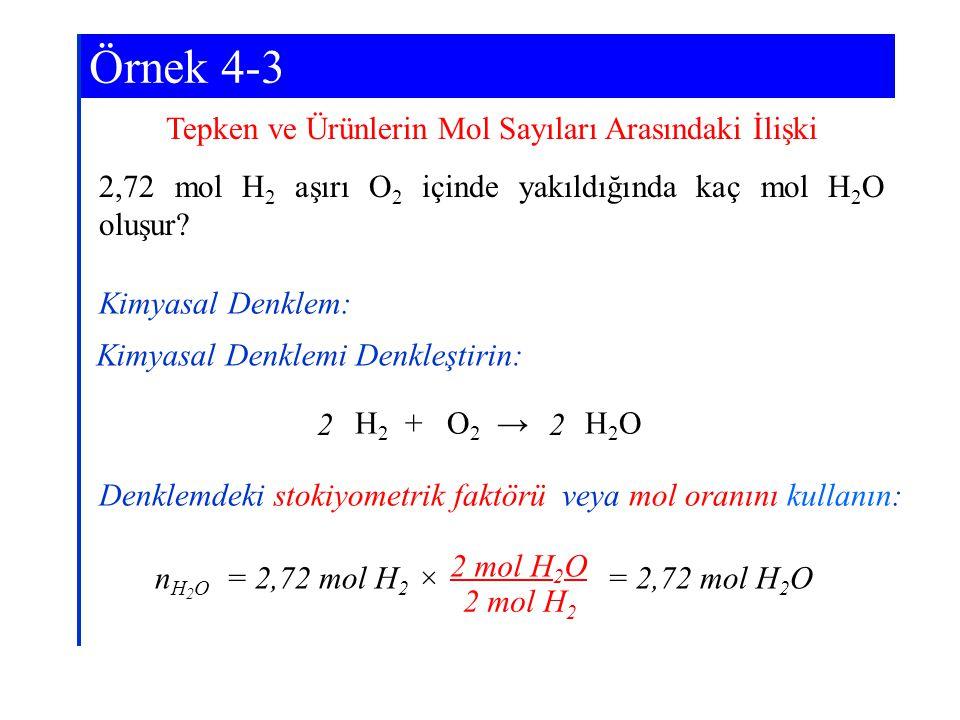 Örnek 4-3 Tepken ve Ürünlerin Mol Sayıları Arasındaki İlişki 2,72 mol H 2 aşırı O 2 içinde yakıldığında kaç mol H 2 O oluşur? H 2 + O 2 → H 2 O Kimyas