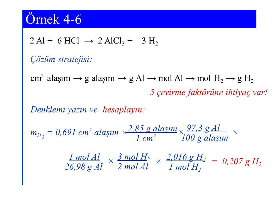 2 Al + 6 HCl → 2 AlCl 3 + 3 H 2 Örnek 4-6 Çözüm stratejisi: cm 3 alaşım → g alaşım → g Al → mol Al → mol H 2 → g H 2 5 çevirme faktörüne ihtiyaç var!
