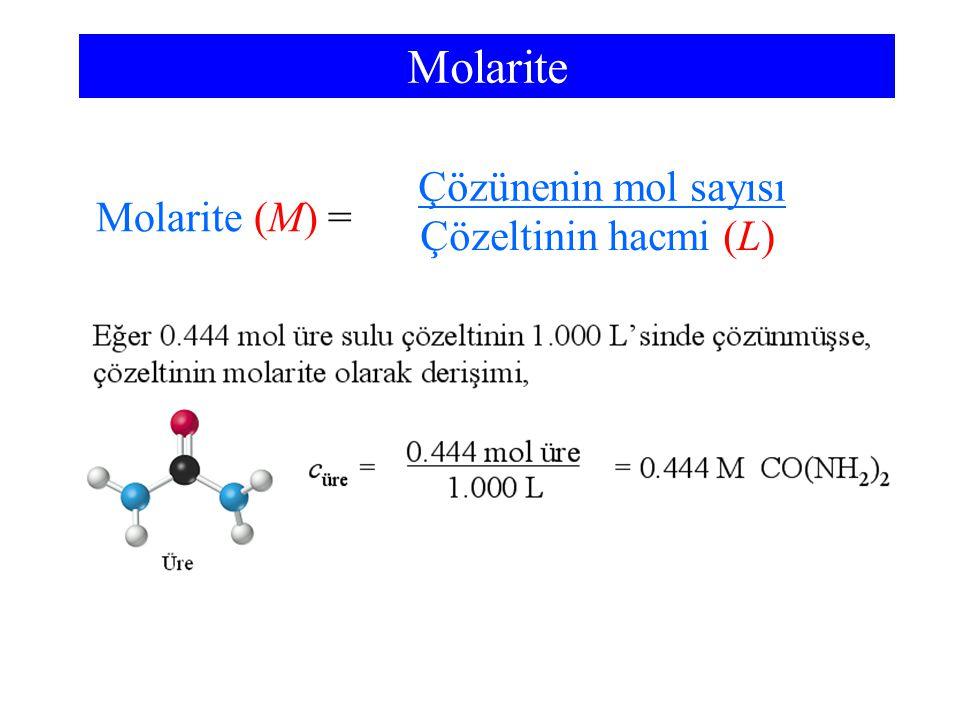 Molarite Molarite (M) = Çözeltinin hacmi (L) Çözünenin mol sayısı