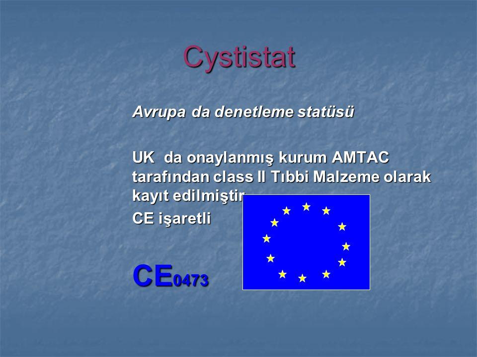 Cystistat Avrupa da denetleme statüsü UK da onaylanmış kurum AMTAC tarafından class II Tıbbi Malzeme olarak kayıt edilmiştir.