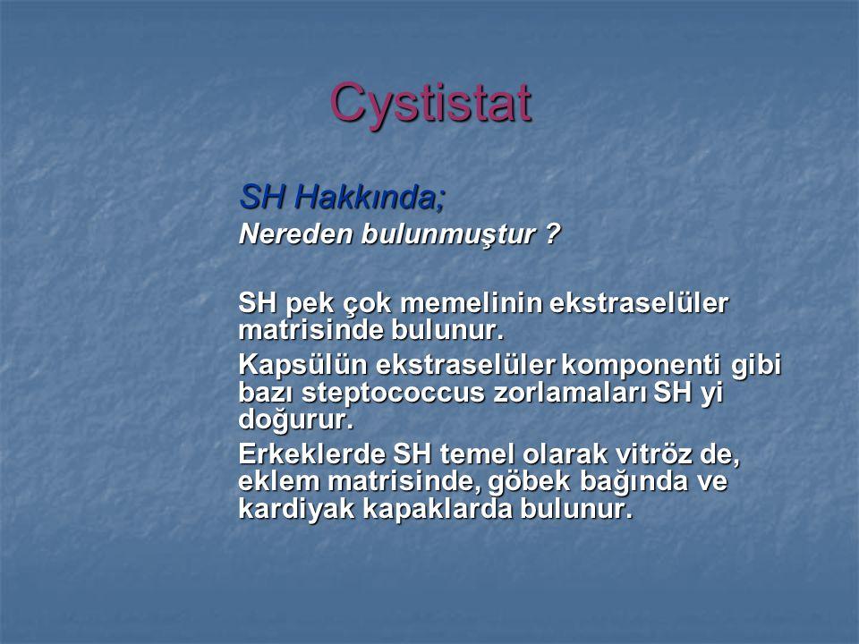 Cystistat SH Hakkında; Nereden bulunmuştur . SH pek çok memelinin ekstraselüler matrisinde bulunur.