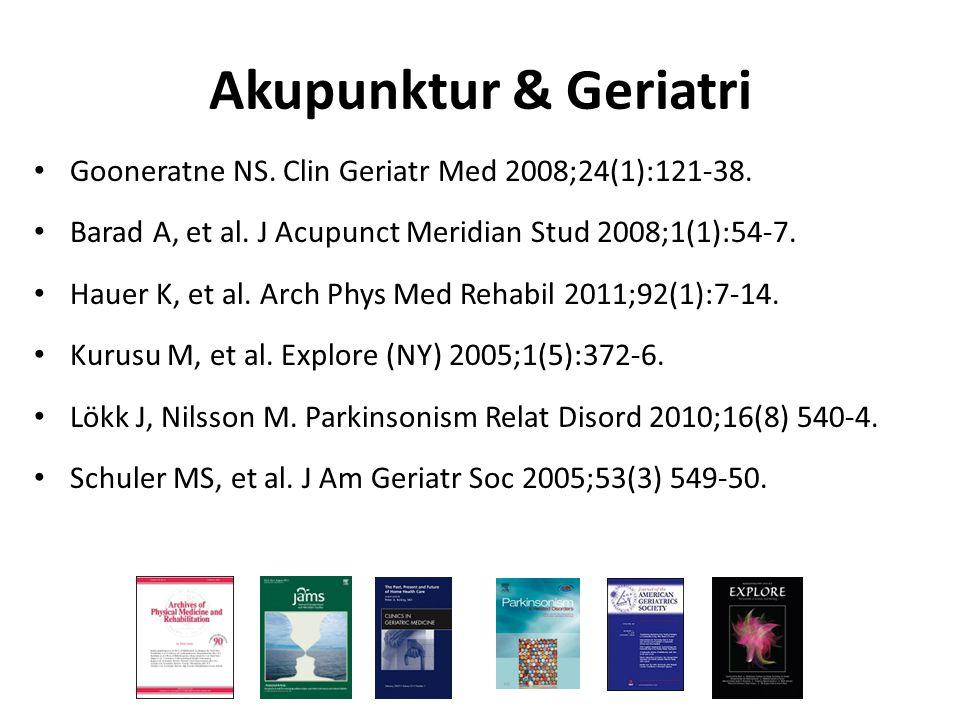 Gooneratne NS. Clin Geriatr Med 2008;24(1):121-38. Barad A, et al. J Acupunct Meridian Stud 2008;1(1):54-7. Hauer K, et al. Arch Phys Med Rehabil 2011