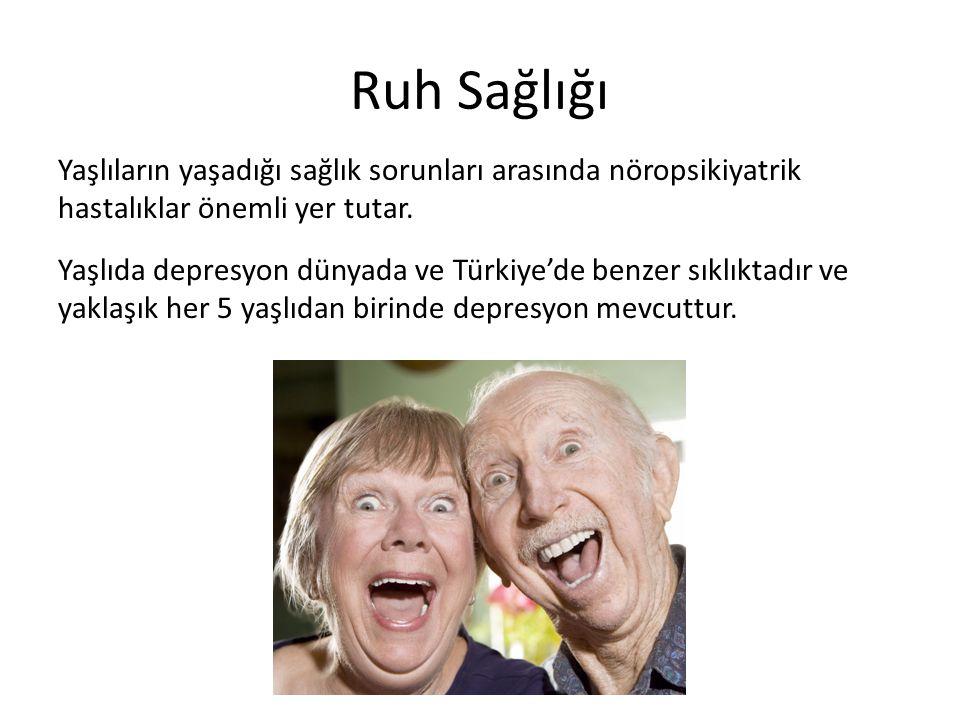 Ruh Sağlığı Yaşlıların yaşadığı sağlık sorunları arasında nöropsikiyatrik hastalıklar önemli yer tutar. Yaşlıda depresyon dünyada ve Türkiye'de benzer
