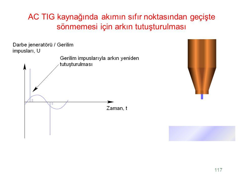 AC TIG kaynağında akımın sıfır noktasından geçişte sönmemesi için arkın tutuşturulması 117