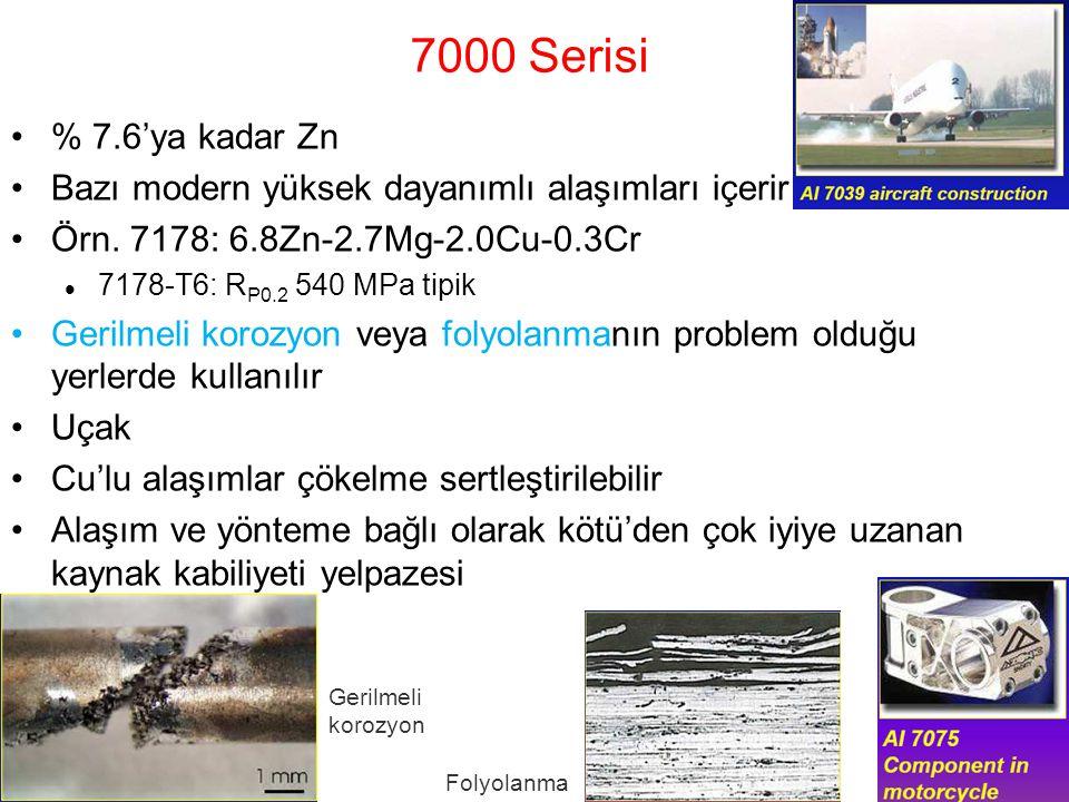 7000 Serisi % 7.6'ya kadar Zn Bazı modern yüksek dayanımlı alaşımları içerir Örn. 7178: 6.8Zn-2.7Mg-2.0Cu-0.3Cr 7178-T6: R P0.2 540 MPa tipik Gerilmel