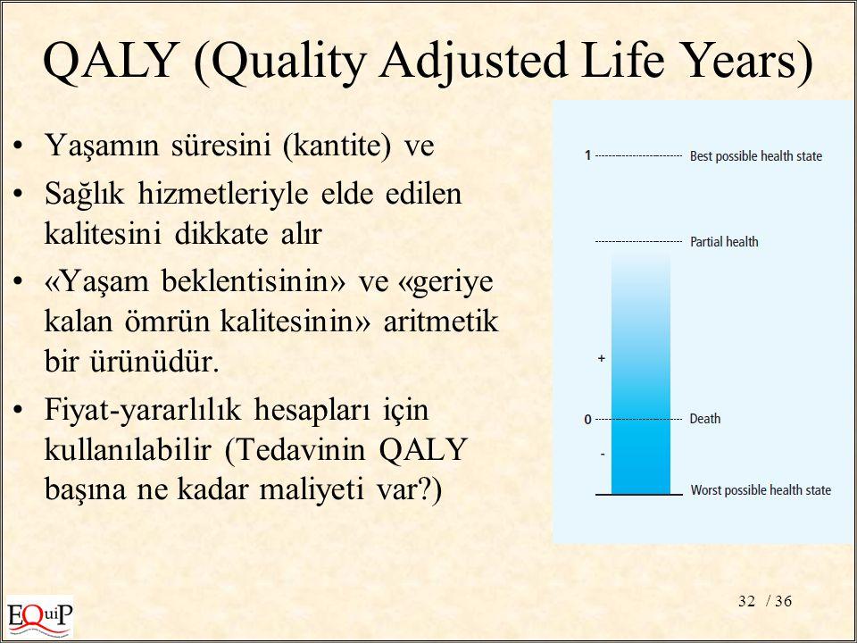 / 3632 QALY (Quality Adjusted Life Years) Yaşamın süresini (kantite) ve Sağlık hizmetleriyle elde edilen kalitesini dikkate alır «Yaşam beklentisinin» ve «geriye kalan ömrün kalitesinin» aritmetik bir ürünüdür.
