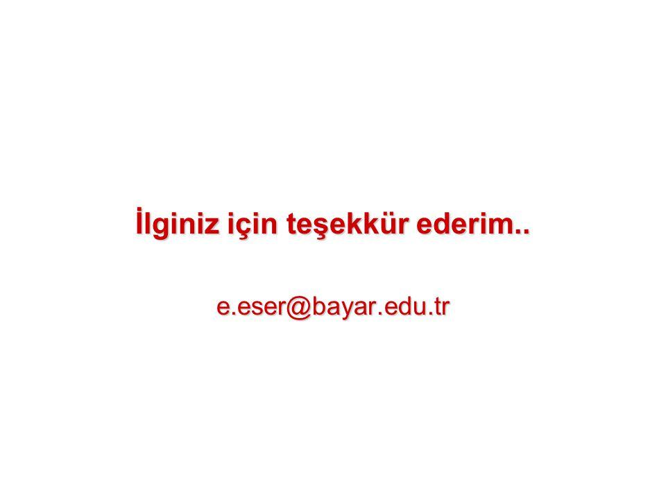 İlginiz için teşekkür ederim.. e.eser@bayar.edu.tr