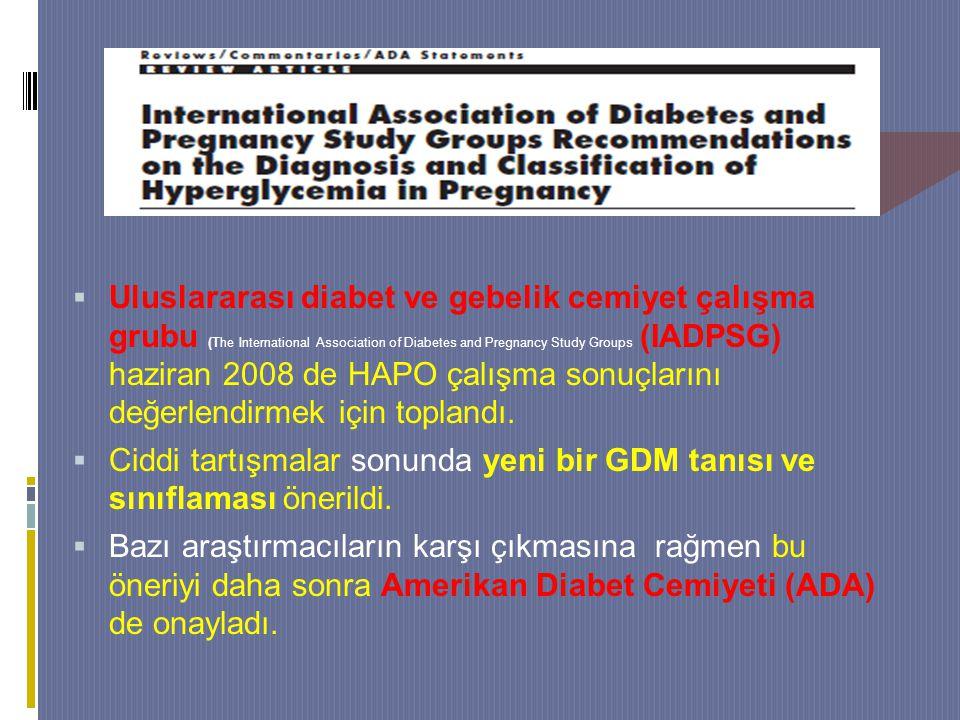 Uluslararası diabet ve gebelik cemiyet çalışma grubu (The International Association of Diabetes and Pregnancy Study Groups (IADPSG) haziran 2008 de HAPO çalışma sonuçlarını değerlendirmek için toplandı.