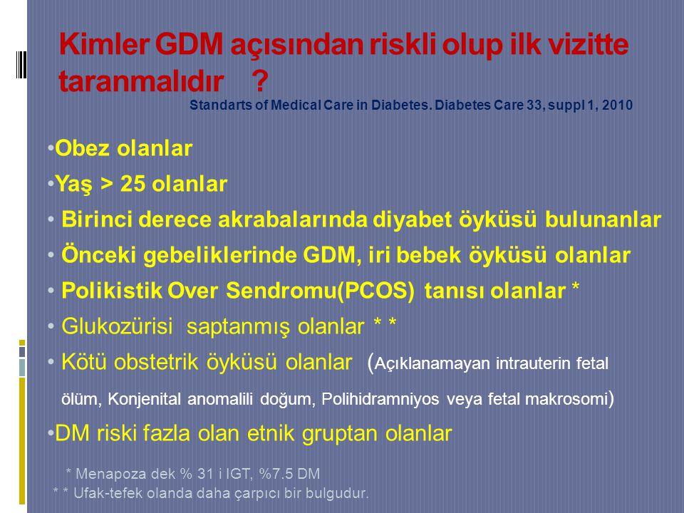 Kimler GDM açısından riskli olup ilk vizitte taranmalıdır .