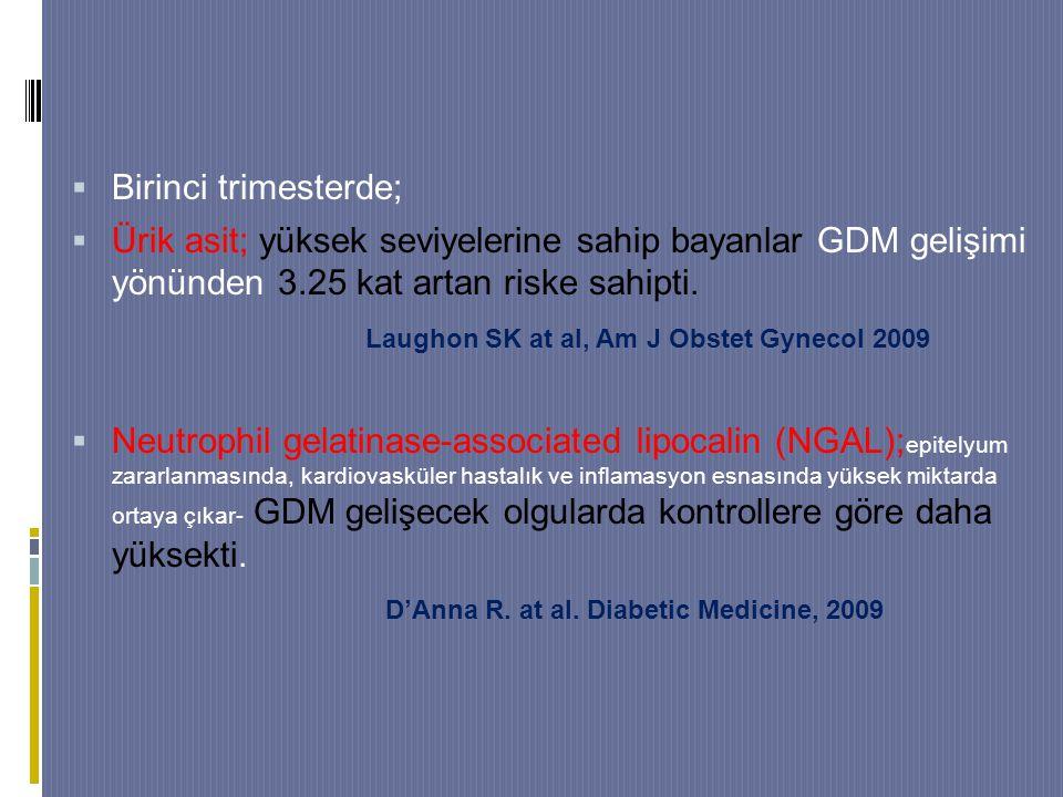  Birinci trimesterde;  Ürik asit; yüksek seviyelerine sahip bayanlar GDM gelişimi yönünden 3.25 kat artan riske sahipti.