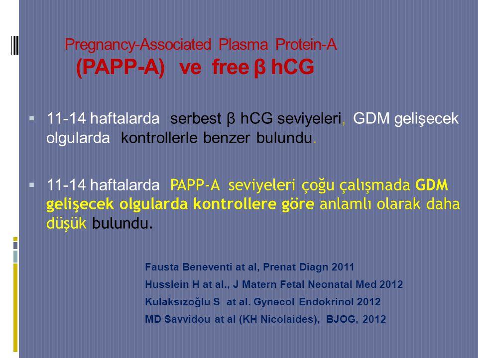 Pregnancy-Associated Plasma Protein-A (PAPP-A) ve free β hCG  11-14 haftalarda serbest β hCG seviyeleri, GDM gelişecek olgularda kontrollerle benzer bulundu.
