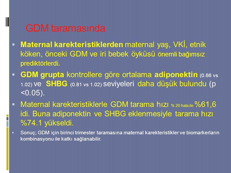 GDM taramasında  Maternal karekteristiklerden maternal yaş, VKİ, etnik köken, önceki GDM ve iri bebek öyküsü önemli bağımsız prediktörlerdi.