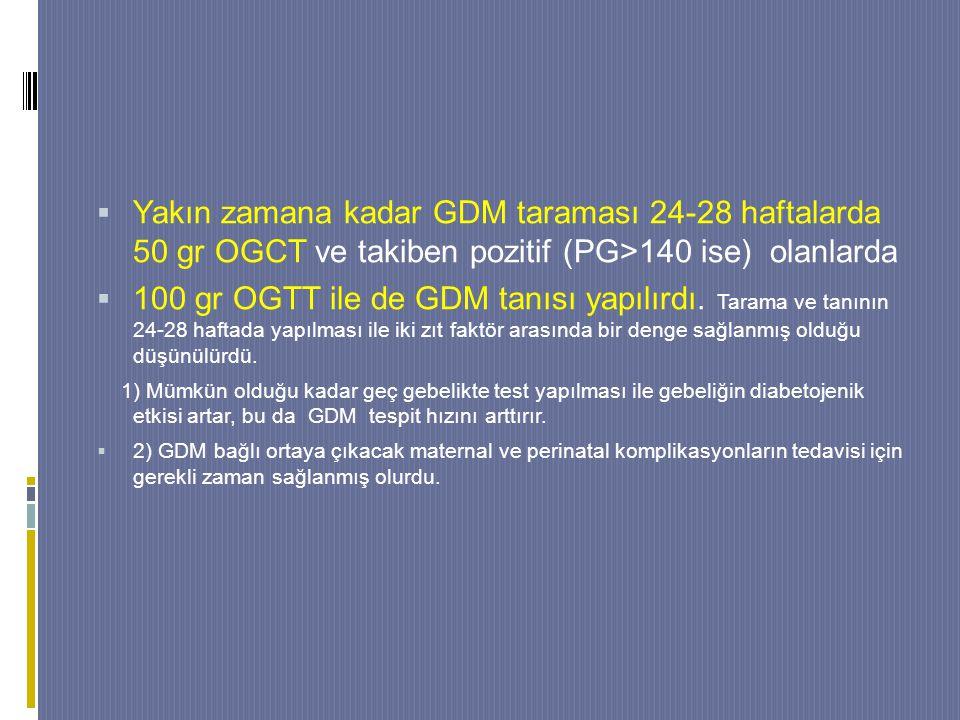  Yakın zamana kadar GDM taraması 24-28 haftalarda 50 gr OGCT ve takiben pozitif (PG>140 ise) olanlarda  100 gr OGTT ile de GDM tanısı yapılırdı.