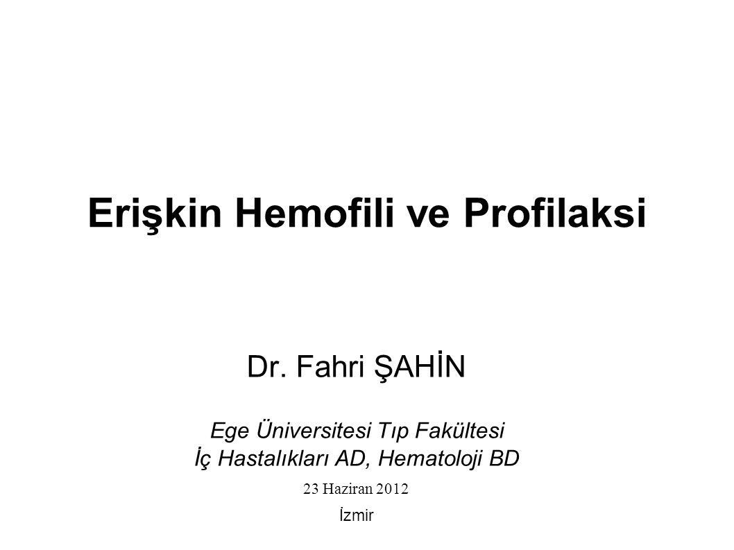 Hemofili X' e bağlı geçiş gösteren herediter kanama hastalığı  Hemofili A (faktör VIII eksikliği) - 1/10,000 canlı erkek doğum  Hemofili B (faktör IX eksikliği) - 1/30,000 canlı erkek doğum Hastalığın ağırlığını belirleyen temel etken, bazal Faktör düzeyleridir