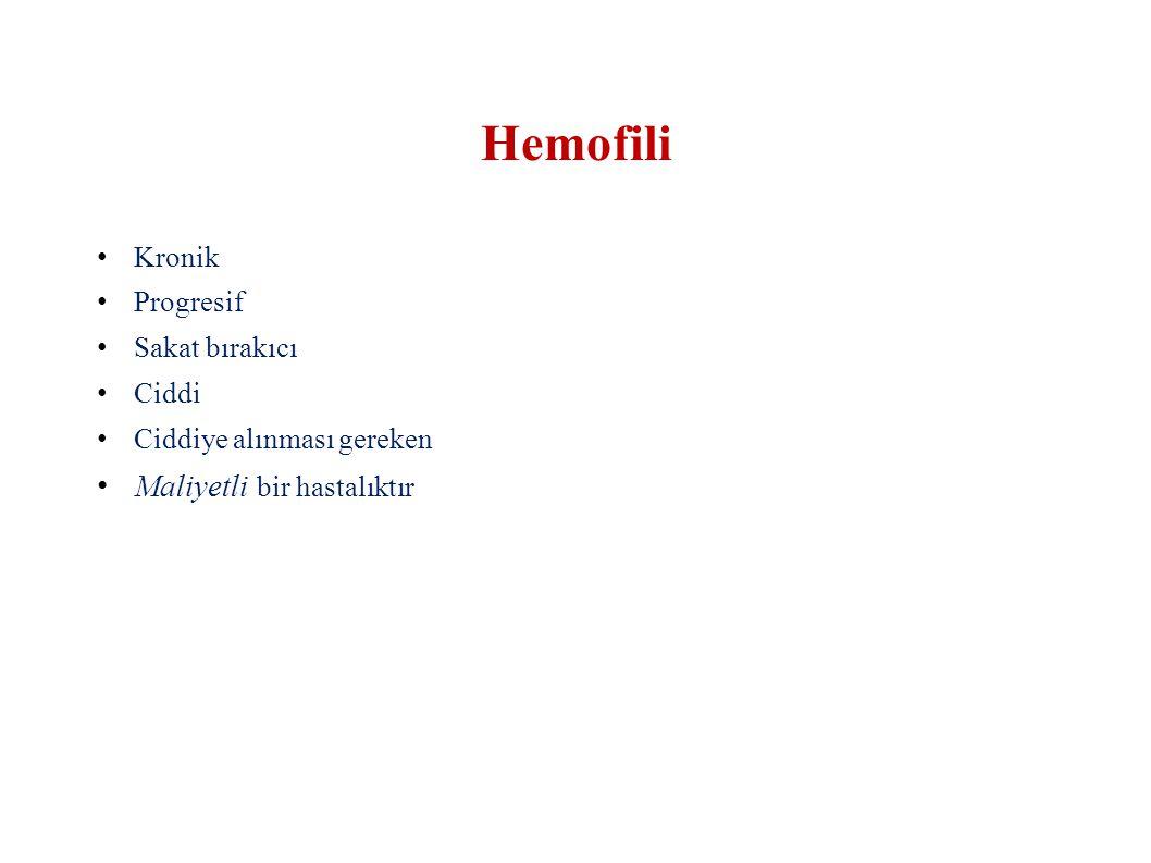 Ağır : < %1  Spontan hemorajiler ̴ 1/ hafta Orta : %1-%4  Travma ile kanamalar ̴ 4-6/ yıl Hafif: ≥ %5  Yaralanma veya cerrahilerde kanama Nadir Hemofili sınıflaması