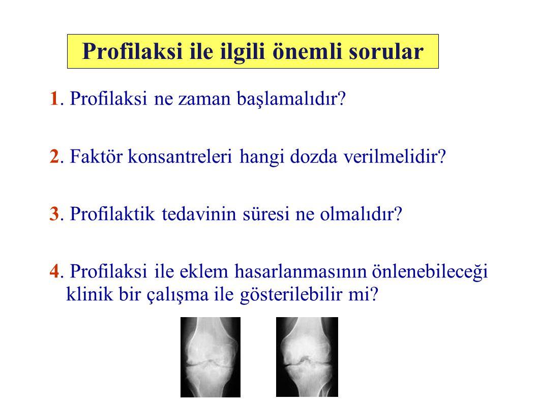 İsveç Deneyimi 1958'den itibaren 25 yıllık profilaksi deneyimi 3-32 yaş, 60 ağır hemofili F VIII veya F IX'un plazma aktivitesini %1'in altına düşürmeyecek doz protokolü … Malmö Modeli: * Nillsson IM et al.