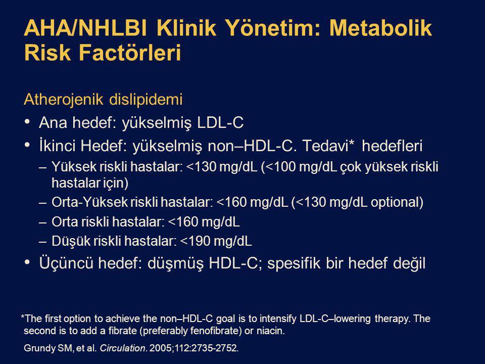 AHA/NHLBI Klinik Yönetim: Metabolik Risk Factörleri Atherojenik dislipidemi Ana hedef: yükselmiş LDL-C İkinci Hedef: yükselmiş non–HDL-C.