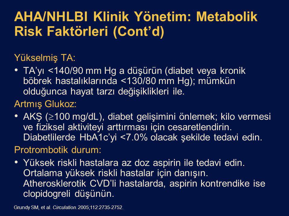 AHA/NHLBI Klinik Yönetim: Metabolik Risk Faktörleri (Cont'd) Yükselmiş TA: TA'yı <140/90 mm Hg a düşürün (diabet veya kronik böbrek hastalıklarında <130/80 mm Hg); mümkün olduğunca hayat tarzı değişiklikleri ile.