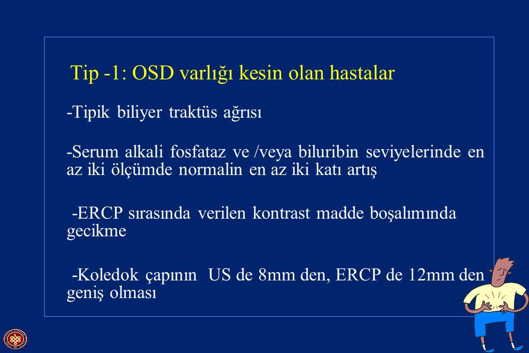 Tip -1: OSD varlığı kesin olan hastalar -Tipik biliyer traktüs ağrısı -Serum alkali fosfataz ve /veya biluribin seviyelerinde en az iki ölçümde normal