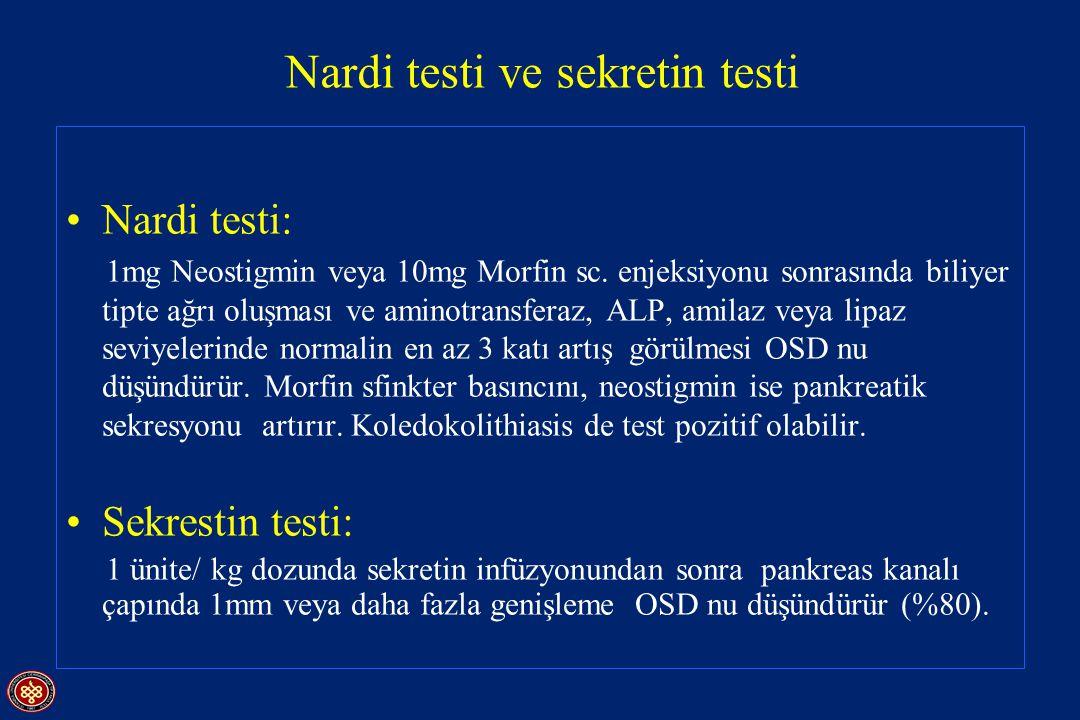 Nardi testi ve sekretin testi Nardi testi: 1mg Neostigmin veya 10mg Morfin sc. enjeksiyonu sonrasında biliyer tipte ağrı oluşması ve aminotransferaz,
