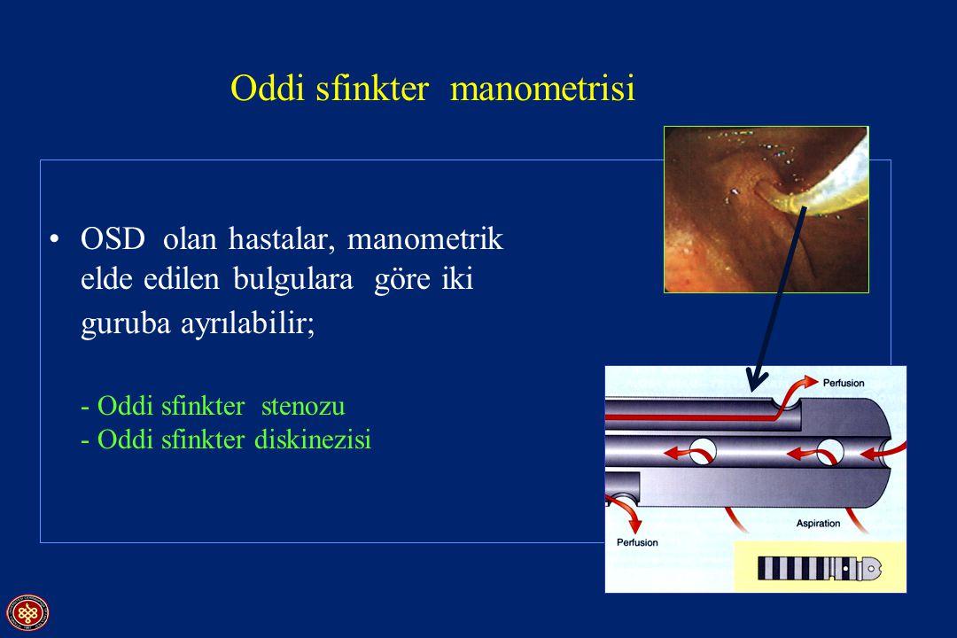 OSD olan hastalar, manometrik incelemede elde edilen bulgulara göre iki guruba ayrılabilir; - Oddi sfinkter stenozu - Oddi sfinkter diskinezisi Oddi s