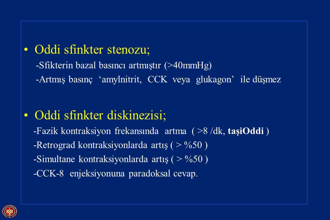 Oddi sfinkter stenozu; -Sfikterin bazal basıncı artmıştır (>40mmHg) -Artmış basınç 'amylnitrit, CCK veya glukagon' ile düşmez Oddi sfinkter diskinezis