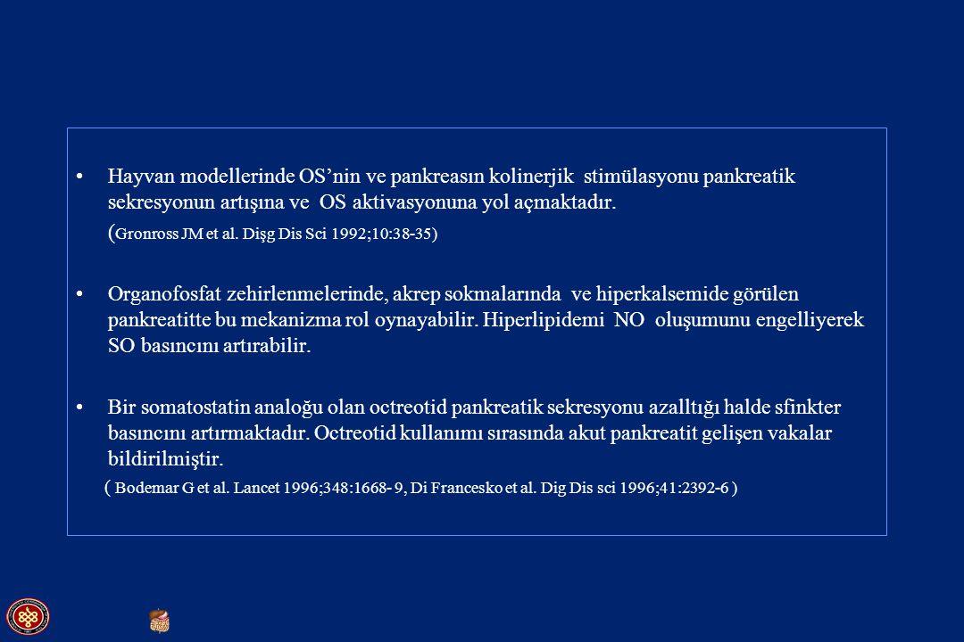 Hayvan modellerinde OS'nin ve pankreasın kolinerjik stimülasyonu pankreatik sekresyonun artışına ve OS aktivasyonuna yol açmaktadır. ( Gronross JM et
