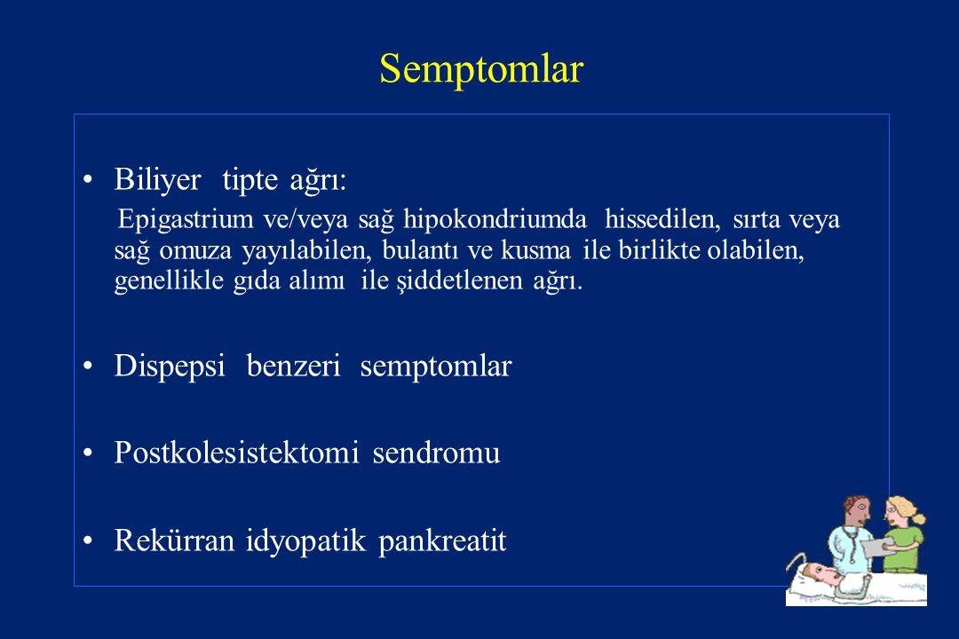 Semptomlar Biliyer tipte ağrı: Epigastrium ve/veya sağ hipokondriumda hissedilen, sırta veya sağ omuza yayılabilen, bulantı ve kusma ile birlikte olab
