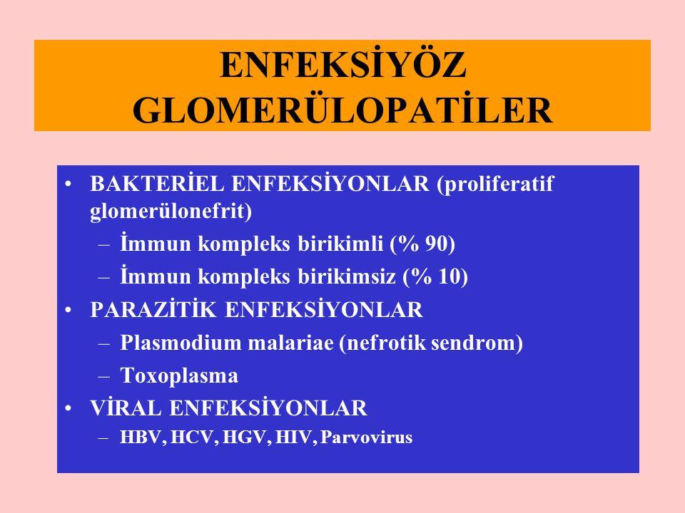 ENFEKSİYÖZ GLOMERÜLOPATİLER BAKTERİEL ENFEKSİYONLAR (proliferatif glomerülonefrit) –İmmun kompleks birikimli (% 90) –İmmun kompleks birikimsiz (% 10)