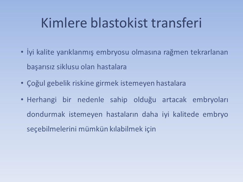 Blastokist transferinin avantajları Embryo – Endometrium senkronizasyonu sağlanır Embryoların kendiliğinden seleksiyonu sağlanır Dolayısı ile daha yüksek gebelik oranı elde edilir ?